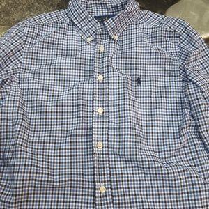 Ralph Lauren blue plaid button down dress shirt